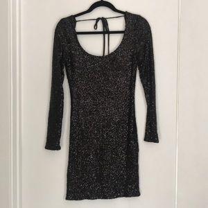Black sequin open back long sleeve dress